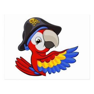 Cartoon Parrot in Pirate Hat Postcard