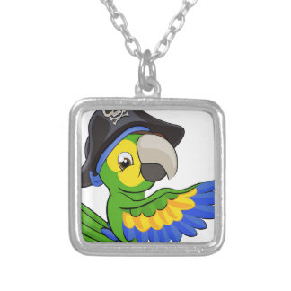 Cartoon Parrot in Pirate Hat Silver Plated Necklace