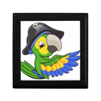 Cartoon Parrot in Pirate Hat Trinket Box