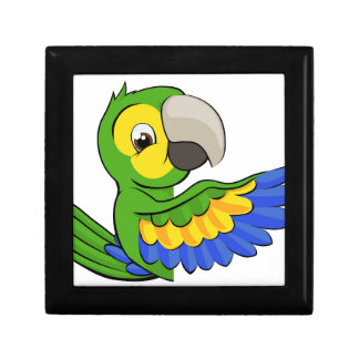 Cartoon Parrot Pointing Around Sign Gift Box