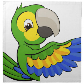 Cartoon Parrot Pointing Around Sign Napkin
