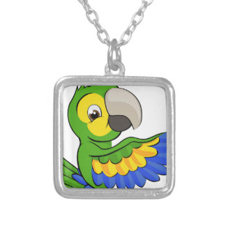 Cartoon Parrot Pointing Around Sign Silver Plated Necklace