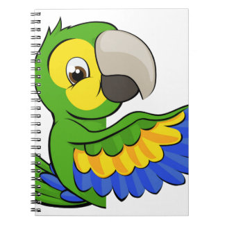 Cartoon Parrot Pointing Around Sign Spiral Note Books