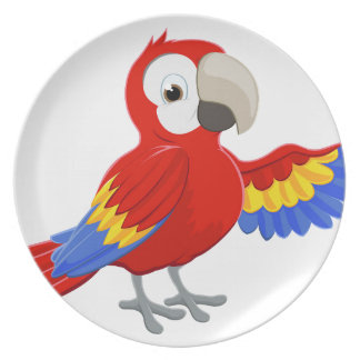 Cartoon Parrot Pointing Plate