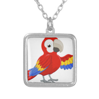 Cartoon Parrot Pointing Silver Plated Necklace