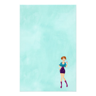 Cartoon Party Girl Holding Drink Stationery