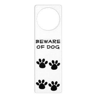 Cartoon Paw Prints Beware of Dog Door Hanger