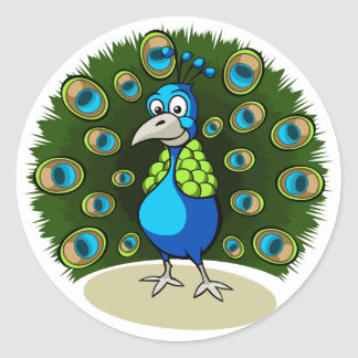 Cartoon Peacock Classic Round Sticker