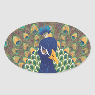 Cartoon Peacock Portrait Oval Sticker