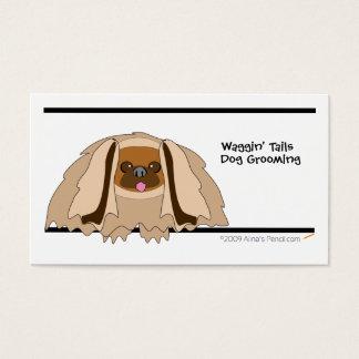 Cartoon Pekingese Dog Business Card Template