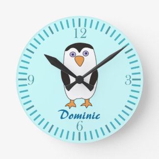 Cartoon Penguin Kids Name Aquamarine  Wall Clocks