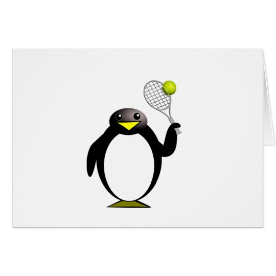 Cartoon Penguin Playing Tennis Card