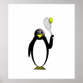 Cartoon Penguin Playing Tennis Poster