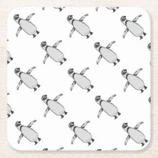 Cartoon Penguin Square Paper Coaster