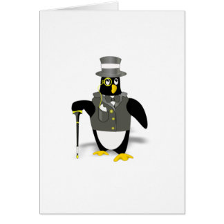 Cartoon Penguin Wearing a Tuxedo Card