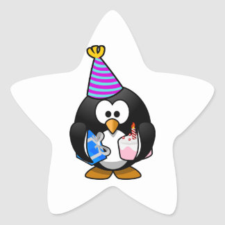Cartoon Penguin with Party Hat, Gift, and Cake Star Sticker
