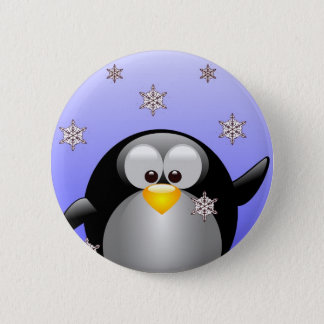 Cartoon Penguin with Snowflakes 2 Inch Round Button