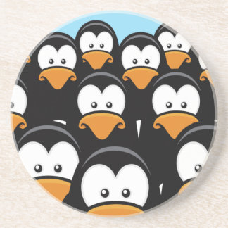 Cartoon Pensive Penguin Army Coaster
