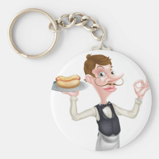 Cartoon Perfect Hotdog Butler Basic Round Button Keychain
