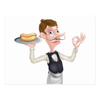 Cartoon Perfect Hotdog Butler Postcard