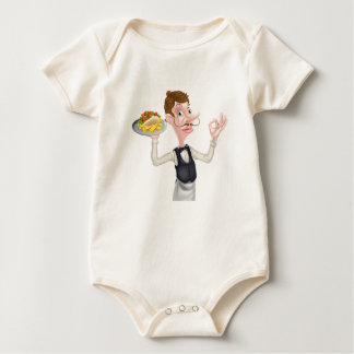 Cartoon Perfect Kebab and Chips Waiter Baby Bodysuit