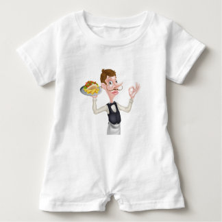 Cartoon Perfect Kebab and Chips Waiter Baby Romper