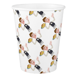 Cartoon Perfect Kebab and Chips Waiter Paper Cup