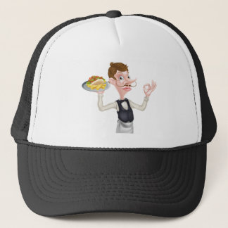 Cartoon Perfect Kebab and Chips Waiter Trucker Hat