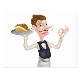 Cartoon Perfect Kebab Pita Waiter Postcard