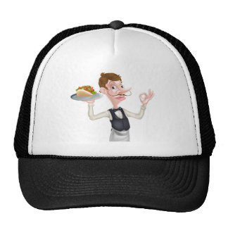 Cartoon Perfect Kebab Pita Waiter Trucker Hat