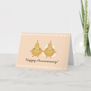 Cartoon Perfect Pear Funny Cute Couple Anniversary Card