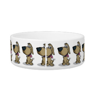 CARTOON PET BOWL AND SEE MATCHING DOG BED TOO