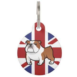 Cartoon Pet on Flag Pet Name Tag