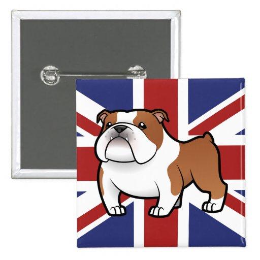 Cartoon Pet with Flag Pinback Buttons