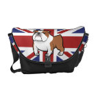 Cartoon Pet with Flag Messenger Bag