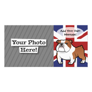 Cartoon Pet with Flag Personalized Photo Card