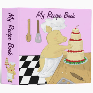 Cartoon Pig Chefs Recipe Binder