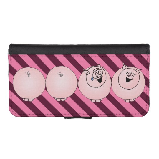 Cartoon pigs laughing with striped background. phone wallets