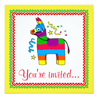 Cartoon Pinata Birthday Invitation