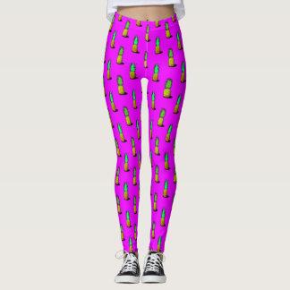 Cartoon Pineapples on Bright Pink Leggings
