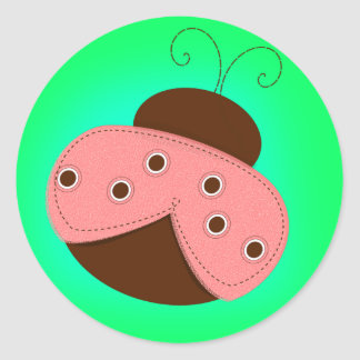Cartoon Pink & Brown Ladybug on a Turquoise Backgr Round Sticker