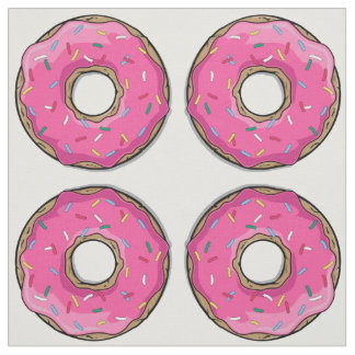 Cartoon Pink Donut With Sprinkles Fabric