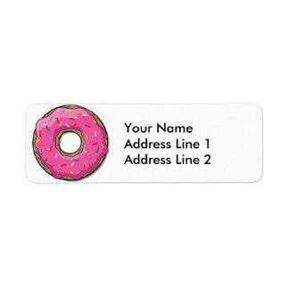 Cartoon Pink Donut With Sprinkles Return Address Label