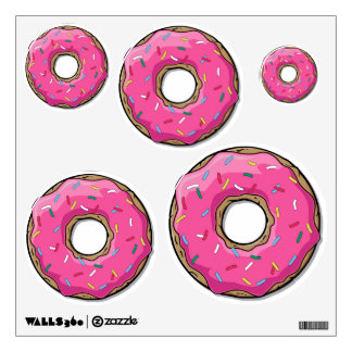 Cartoon Pink Donut With Sprinkles Wall Decal