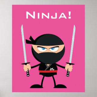 Cartoon Pink Ninja Warrior With Two Katana Poster