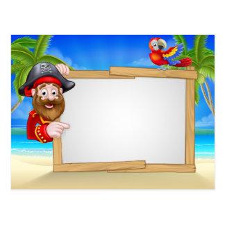 Cartoon Pirate Beach Background Postcard