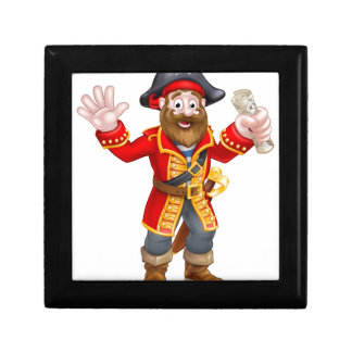 Cartoon Pirate Holding Map Gift Box