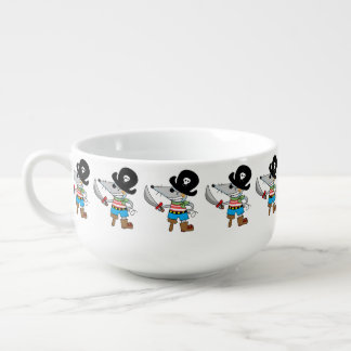 cartoon pirate mouse soup bowl with handle