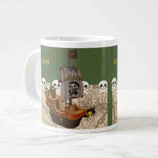Cartoon Pirate Ship Personalize Large Coffee Mug