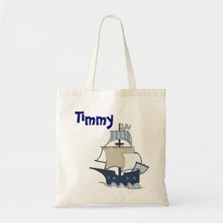 Cartoon pirate ship tote bag